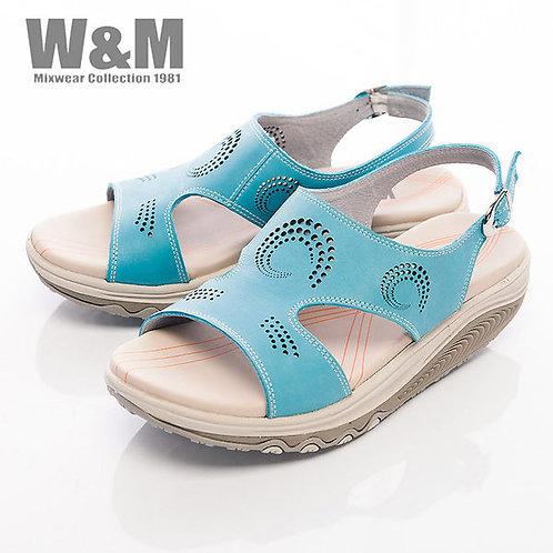 米蘭皮鞋W&M 2014 FIT 螺旋洞洞造型健走族健塑鞋扣環女鞋-藍(另有黃)