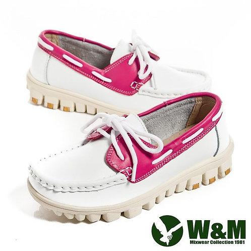 米蘭~W&M 亮眼配色皮革穿繩懶人鞋女鞋-白(另有藍、桃)
