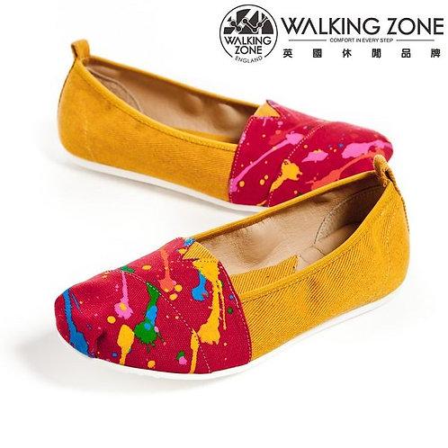 WALKING ZONE潑漆水彩斜車輕盈便鞋 豆豆鞋-黃