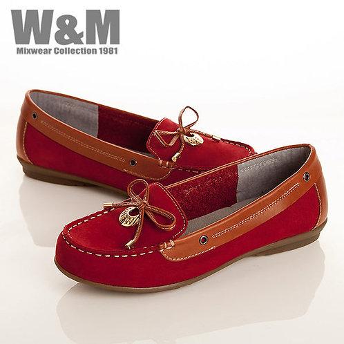 W&M 真皮蝴蝶結+金屬圓飾莫卡辛鞋女鞋-紅(另有黑、藍)