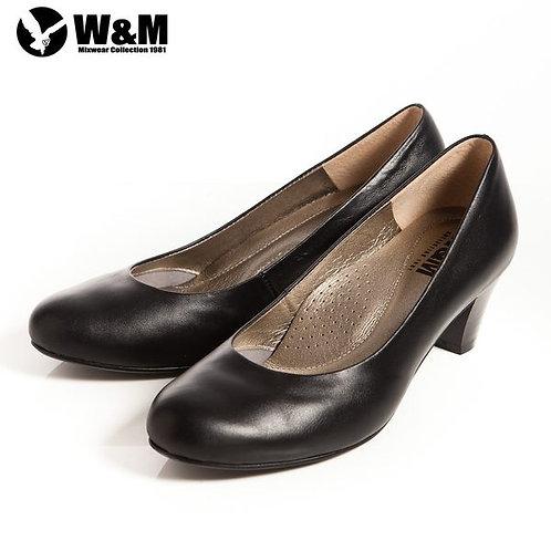 米蘭皮鞋 2014 W&M 霧面OL舒適透氣軟墊中跟淑女鞋 黑