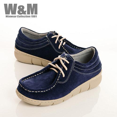 W&M 時尚玩色綁帶麂皮休閒女鞋-藍(另有黃、紫)