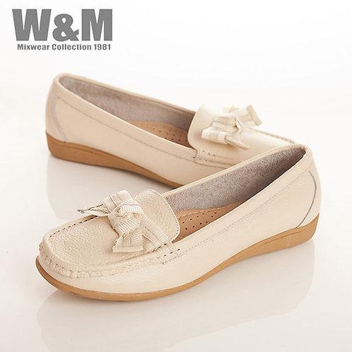 W&M 真皮緞帶蝴蝶結莫卡辛女鞋-米(另有黑、紅、黃、藍)