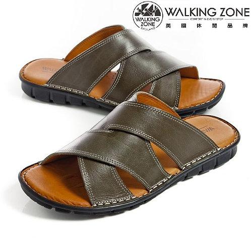 WALKING ZONE英倫風皮革氣墊拖鞋 綠(另有黑)