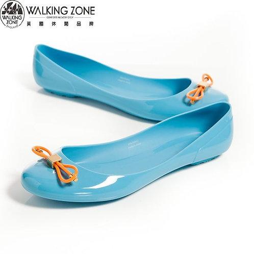 2014 WALKING ZONE 韓版蝴蝶結亮麗配色果凍鞋-淺藍(另有深藍、黃、桃、黑)