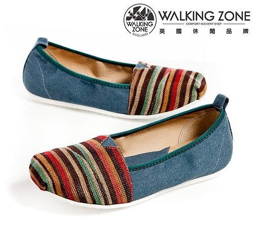 WALKING ZONE大地色橫條斜車輕盈便鞋 豆豆鞋-藍