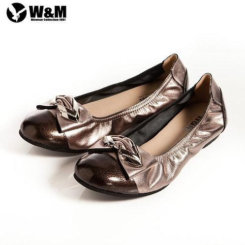 米蘭皮鞋 2014 W&M 可愛菱形金屬片蝴蝶結 優雅時尚好穿搭柔軟平底鞋 銀(另有黑)