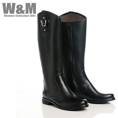 W&M 金屬釦飾側壓線女鞋拉鍊長筒雨靴-黑(另有咖)