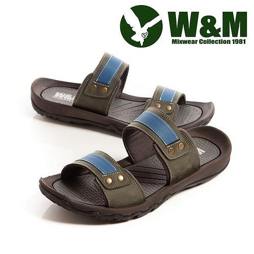 【W&M】 創意配色織帶拖鞋男鞋 棕(另有綠)