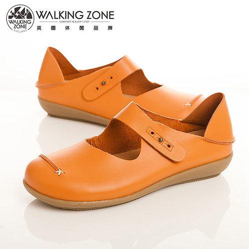WALKING ZONE 簡約舒適耐走真皮休閒鞋女鞋-橘(另有黑、紅、棕)