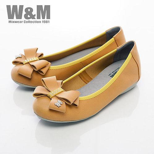 米蘭皮鞋W&M 大方蝴蝶結娃娃鞋平底女鞋-黃(另有桃粉)