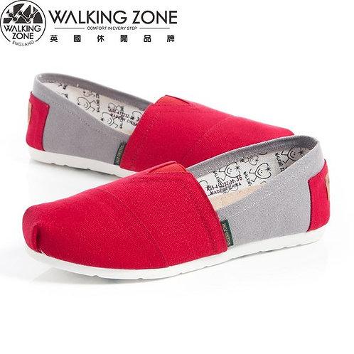WALKING ZONE 悠閒步伐輕巧國民便鞋女鞋-紅(另有綠亮、藍綠)