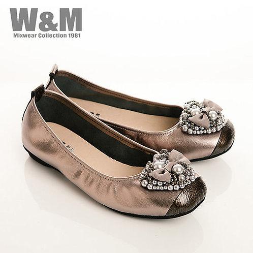 W&M 真皮珠飾蝴蝶結束口鞋女鞋-銀(另有黑)