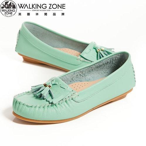 2014春夏 WALKING ZONE 流蘇穿繩柔軟莫卡辛鞋女鞋-綠(另有黃、白、桃)
