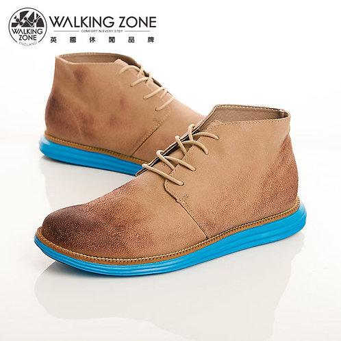 WALKING ZONE 真皮潮流撞色款綁帶短靴男鞋-卡其(另有灰、藍)