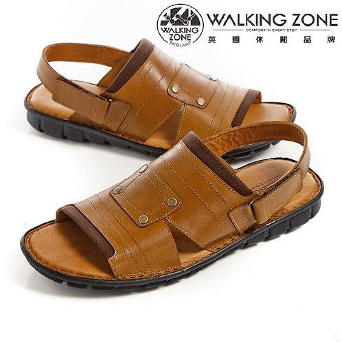 WALKING ZONE镂空露趾沙灘軟底休閑涼鞋/拖鞋兩用 棕