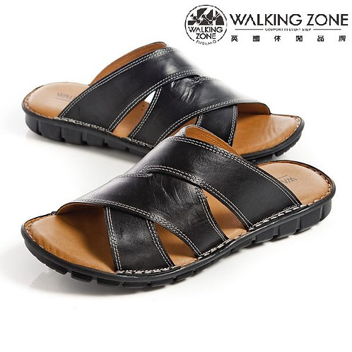 WALKING ZONE英倫風皮革氣墊拖鞋 黑(另有綠)