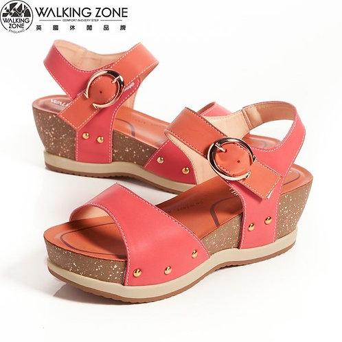 2014春夏 WALKING ZONE 金屬釦環配色 厚底曲線涼鞋-紅(另有藍)