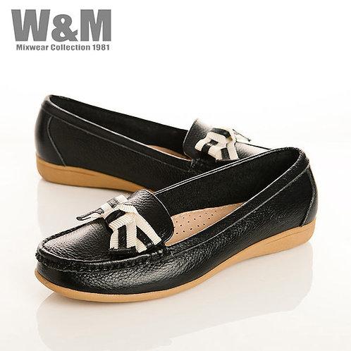 W&M 真皮緞帶蝴蝶結莫卡辛女鞋-黑(另有米、紅、黃、藍)