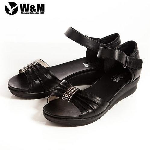 2014春夏W&M 耀眼亮鑽 魔鬼氈淑女中低跟平底涼鞋 黑(另有米、桃)
