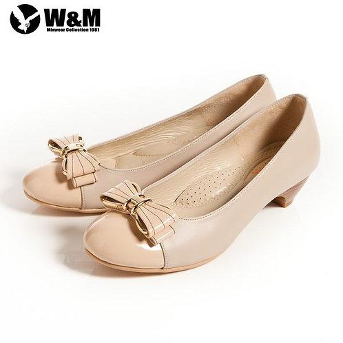 米蘭皮鞋 2014 W&M 迷人亮眼金屬框蝴蝶結舒適透氣軟墊低跟淑女鞋 卡其(另有黑)