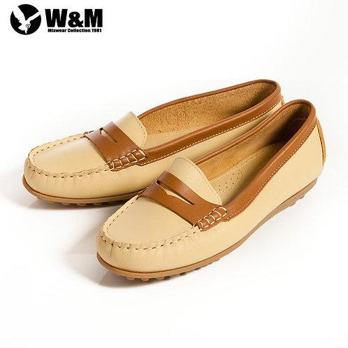 米蘭皮鞋 2014春夏新品 W&M 俏皮配色柔軟 可水洗防滑鞋底豆豆鞋莫卡辛鞋女鞋 黃(另有粉、淺藍