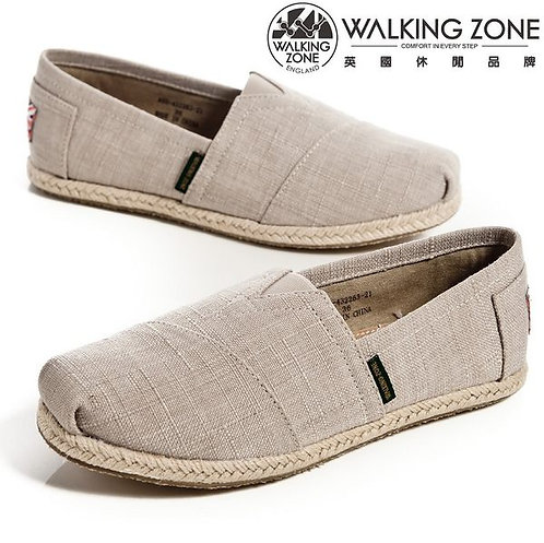 WALKING ZONE 斜車素面編織風樂福鞋女鞋-米(另有紫、深藍)