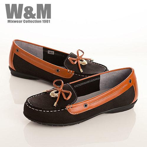 W&M 真皮蝴蝶結+金屬圓飾莫卡辛鞋女鞋-黑(另有紅、藍)