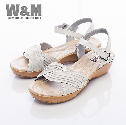 米蘭皮鞋W&M 寬版皺褶交叉帶扣環涼鞋女鞋-白(另有淺藍)