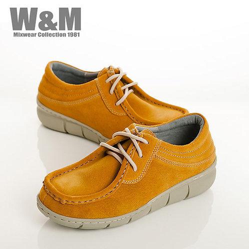 W&M 時尚玩色綁帶麂皮休閒女鞋-黃(另有藍、紫)