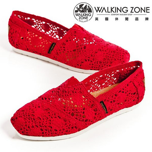 WALKING ZONE 鏤空編織蕾絲樂福鞋女鞋-桃紅(另有淺藍)
