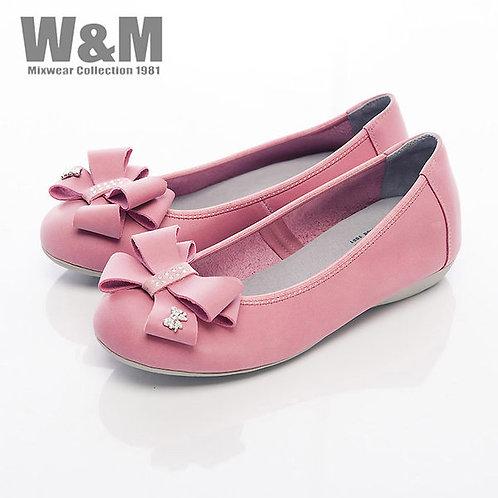 米蘭皮鞋W&M 大方蝴蝶結娃娃鞋平底女鞋-桃粉(另有黃)
