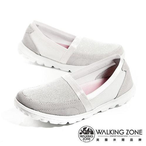 米蘭~WALKING ZONE 亮蔥直套懶人鞋國民便鞋女鞋-銀(另有藍)