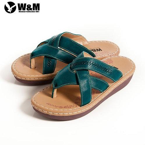 2014春夏W&M 交叉寬帶透氣夾腳拖鞋 藍(另有粉)