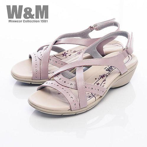米蘭皮鞋W&M 百搭交叉鞋帶魔鬼粘涼鞋女鞋-紫(另有白)