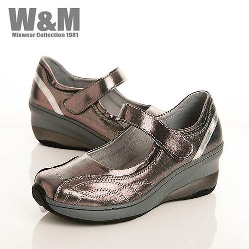 W&M 曲線壓現造型魔鬼氈黏釦帶淑女鞋-銀光紫(另有黑)