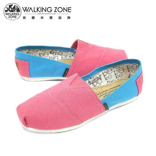 WALKING ZONE 悠閒步伐輕巧國民便鞋女鞋-粉(另有橘、綠、灰、藍)