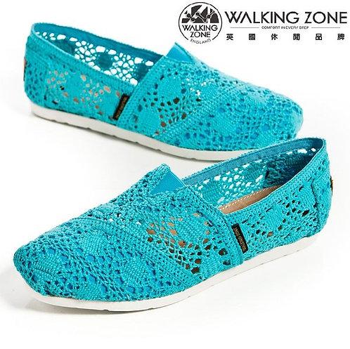 WALKING ZONE 鏤空編織蕾絲樂福鞋女鞋-淺藍(另有桃紅)