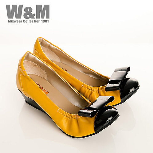 W&M 真皮漆皮蝴蝶結船型鞋楔型女鞋-黃(另有黑)
