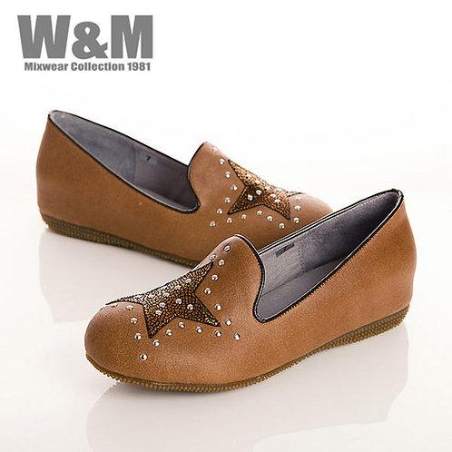 W&M 大星星鉚釘真皮休閒鞋女鞋-卡其(另有紫)