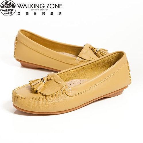 2014春夏 WALKING ZONE 流蘇穿繩柔軟莫卡辛鞋女鞋-黃(另有白、綠、桃)