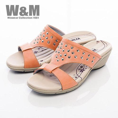 米蘭皮鞋W&M 圓錐鉚釘造型淑女拖鞋女鞋-橘(另有藍)