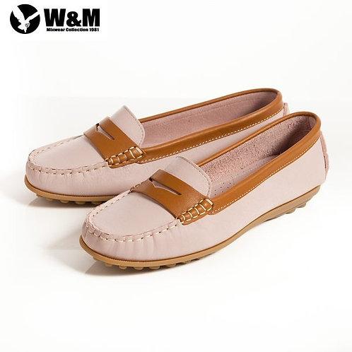 米蘭皮鞋 2014春夏新品 W&M 俏皮配色柔軟 可水洗防滑鞋底豆豆鞋莫卡辛鞋女鞋 粉(另有黃、淺藍