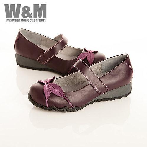 W&M 復古葉子造型魔鬼氈黏釦帶淑女鞋-紫(另有黑、紅)