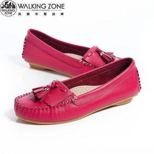 2014春夏 WALKING ZONE 流蘇穿繩柔軟莫卡辛鞋女鞋-桃(另有黃、白、綠)