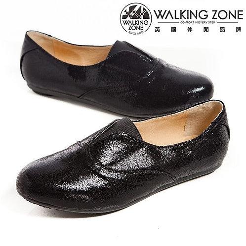WALKING ZONE英倫風愛心鞋底 亮皮便鞋-黑(另有銀)