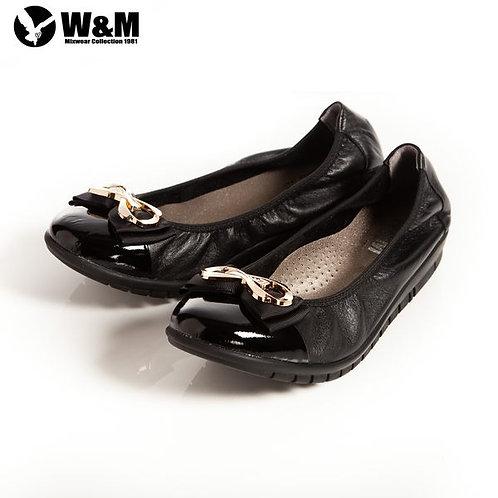 2014春夏新品 W&M 俏皮時尚耀眼 金屬迴紋帶雙層蝴蝶結柔軟女鞋 黑(另有灰)