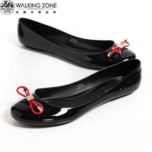 2014 WALKING ZONE 韓版蝴蝶結亮麗配色果凍鞋-黑(另有深藍、淺藍、黃、桃)