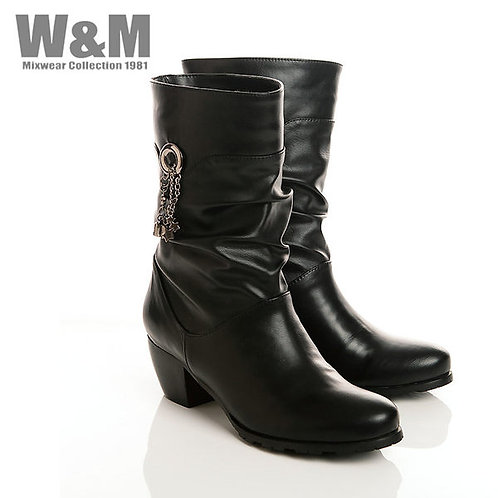 W&M 個性金屬鍊流蘇女中筒靴-黑(另有紅)