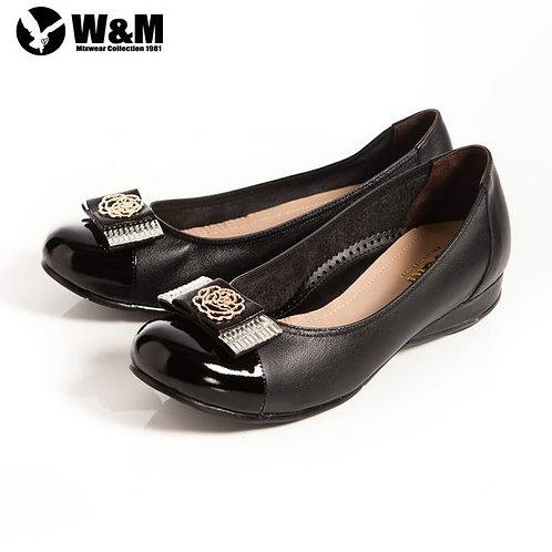 米蘭皮鞋 W&M 立體花編造型寬帶蝴蝶結 優雅舒適低跟鞋 黑(另有卡其)